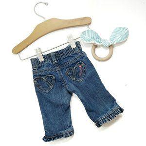 Oshkosh Heart Ruffle Hem Jeans Size 3 Months
